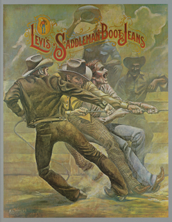 Three men wearing Levi's garb, including pants or jeans, jackets and shirts. They wear cowboy boots and are tugging with all their might something unseen at the right, as two other men in the background look on. Across the top, in red: LEVI'S SADDLEMAN BOOT JEANS.