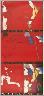 Three predominantly red sections on single poster. First section mostly red with white and orange highlight; second image mostly red with some blue and white, outline of a girl, bound, lying on the floor; third section predominantly red with white, blue, orange and green, two images of girl, bound, on the floor - one at the top of the section in red, blue and grey, the other at the bottom of the section in white highlights.