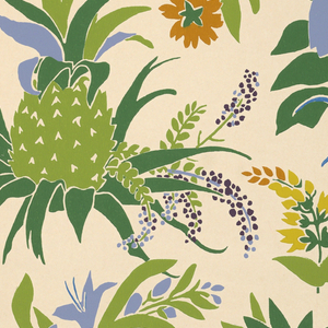 Green pineapple silhouette and multi-colored flowers printed on cream ground.  No selvedge.
