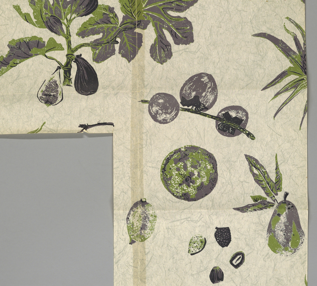 Pomegranate and pineapple with other fruit printed in purple and olive green on darker gray background simulating Japanese paper.