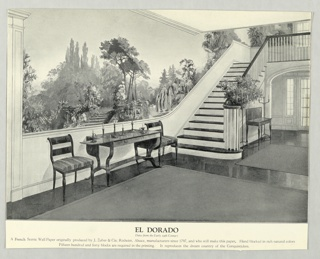 Black and white photo reproduction showing El Dorado in situ in entry stairhall setting.