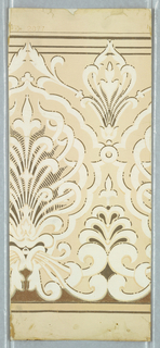 "Cream ground with conventional lotus in white, with silver, gilt and bronze. Marked ""2077"". Frieze"