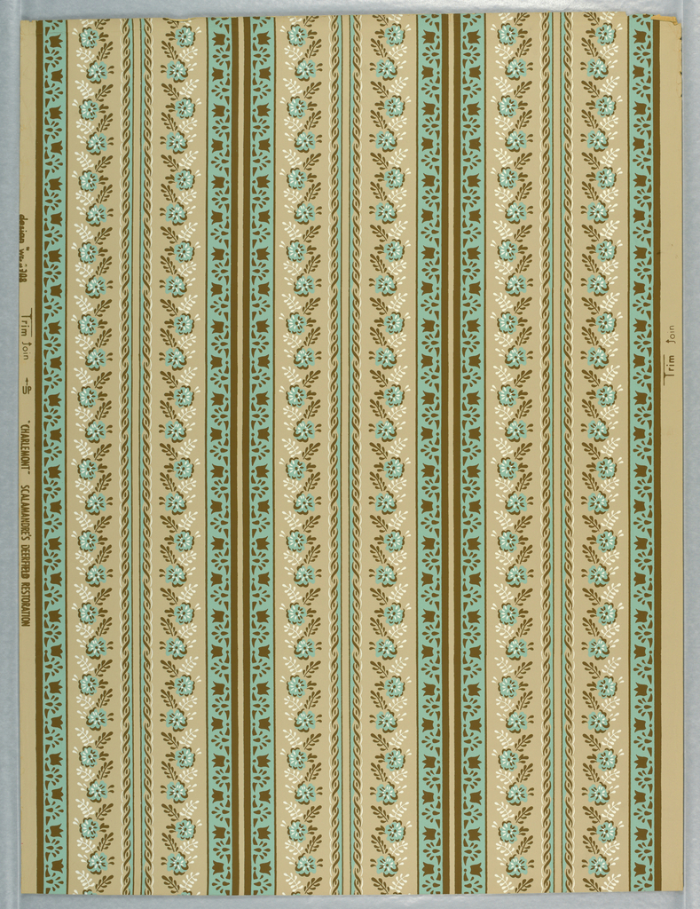 Vertical stripes of turquoise flowers, and turquoise stripes with brown tulips. Repeated three times straight and three times in mirror image. Original was probably a paper printed with borders to be cut.
