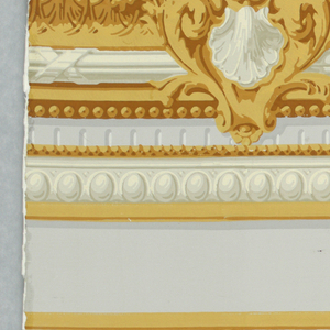 Two separate motifs to be used for dado. The baseboard has a series of horizontal molding strips in grisaille and brownish-yellow. The upper element, or chair rail, has a more elaborate treatment with leafy carving and a grisaille shell motif in addition to the molding strips; on off-white ground.