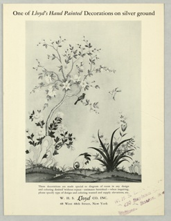 Black and white print showing Chinoiserie scene of flowering tree, rock formation and bird. Advertising hand painted scenes made custom to individual specifications.