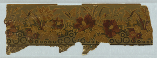 Butterflies amid poppies and grasses. Scalloped band of circular motifs across bottom.