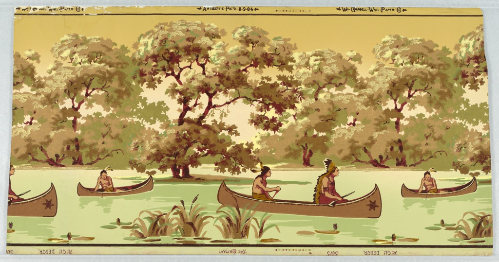 """Repeating design of stream with canoes carrying Indians, some carrying rifles, some fishing. Trees form a band in the background. Top margin stamped: Antiseptic Pat'd 8-9-04, and Wm. Campbell-Wall-Paper-Co., with color register marks. Bottom margin stamped: The Oritani, Aegli Desgr, 5015. Printed in greens, red and browns, the trees in """"a"""" largely green, and those in """"b"""" in brown."""