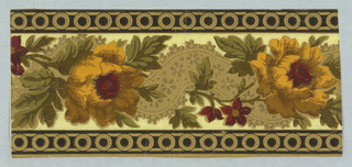 Twisted ribbon and rose design with band of circles along top and bottom edge.  Ribbon has gold floral motifs, and large yellow rose alternates with smaller red flowers.