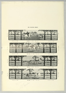 Black and white photo reproduction showing four panels of hunting frieze design, with scenes including: The Meet, Gone Away, Full Cry, and The Death. Scenes contain hunting lodge, horses, dogs, and riders. The activities in each of the frieze panels are set within an identical framework of trees.