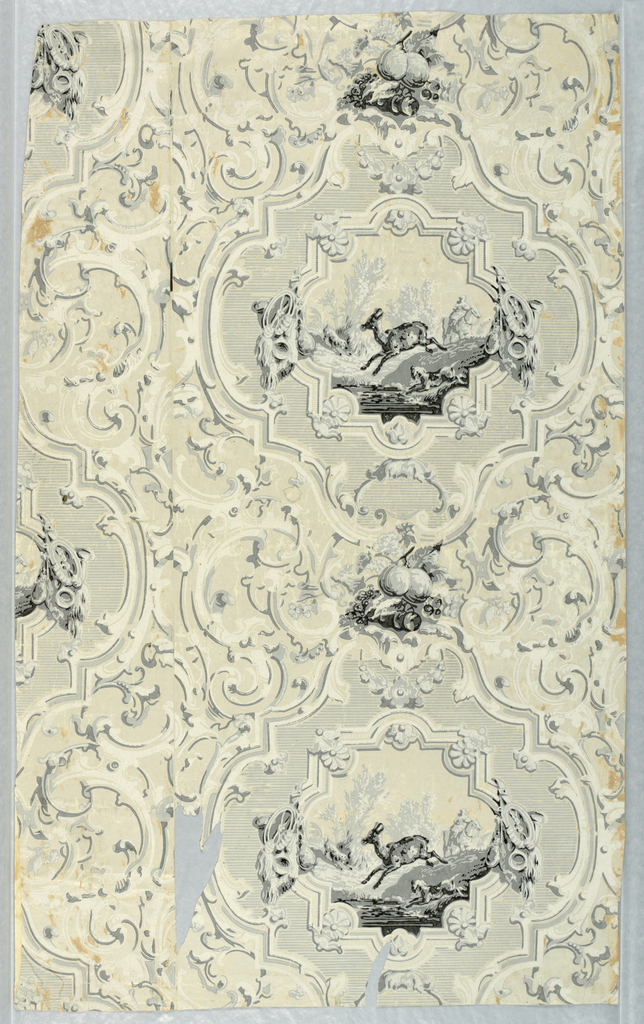 Elaborate cartouches enclosing scenes of mounted hunter and dogs pursuing deer.