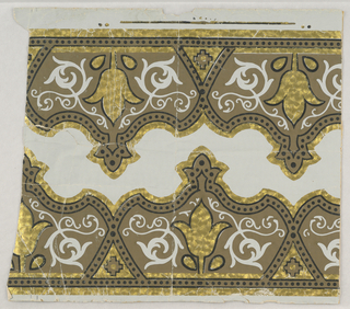 Full width, with opposed bands of conventional decoration, shaped in contour. Printed in black, brown and gold on embossed paper.