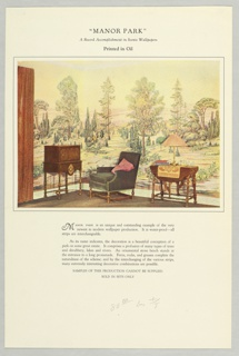 Full color reproduction showing scenic in situ in a living room setting. Printed notations give title and wallpaper description.