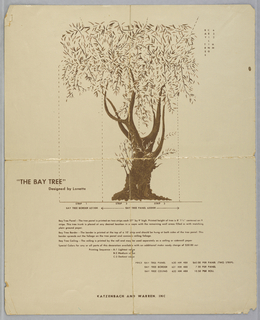 Image consists of a single Bay tree. Printed in brown and tan. This miniature breaks the design down into panels and ceiling papers.