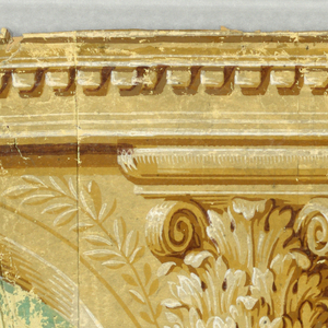 Three pieces of architectural elements. a) contains the top border and a portion of the sidewall. The pilaster capital is centered between arches, each containing a central urn and flanking sphinxes. The arches contain a green background. Across the top edge runs a band of dentil molding. The sidewall portion contains a brick pattern with a small inset medallion containing an urn. b) This sidewall portion is a brick pattern with an inset medallion. The medallion contains a winged figure with a serpent and a flaming column. A pilaster along the left edge. c) is the bottom border. This contains the pilaster base with a lion mask in relief. This alternates with a laurel and ribbon swag. Printed in shades of brown, ocher, green and white.