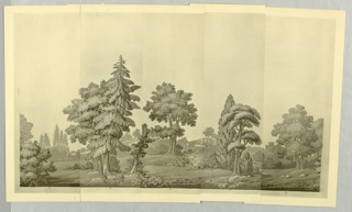 Black and white miniature reproduction of scenic wallpaper showing a forest or countryside scene, Rolling hills throughout with two castles in the distance.