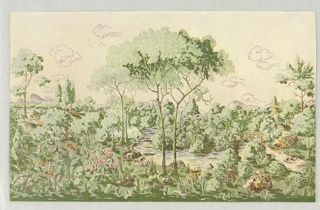 Full color miniature reproduction of a scenic wallpaper showing wooded forest scene, with river winding through center, wooden bridge, scattered clouds. Printed primarily in green.