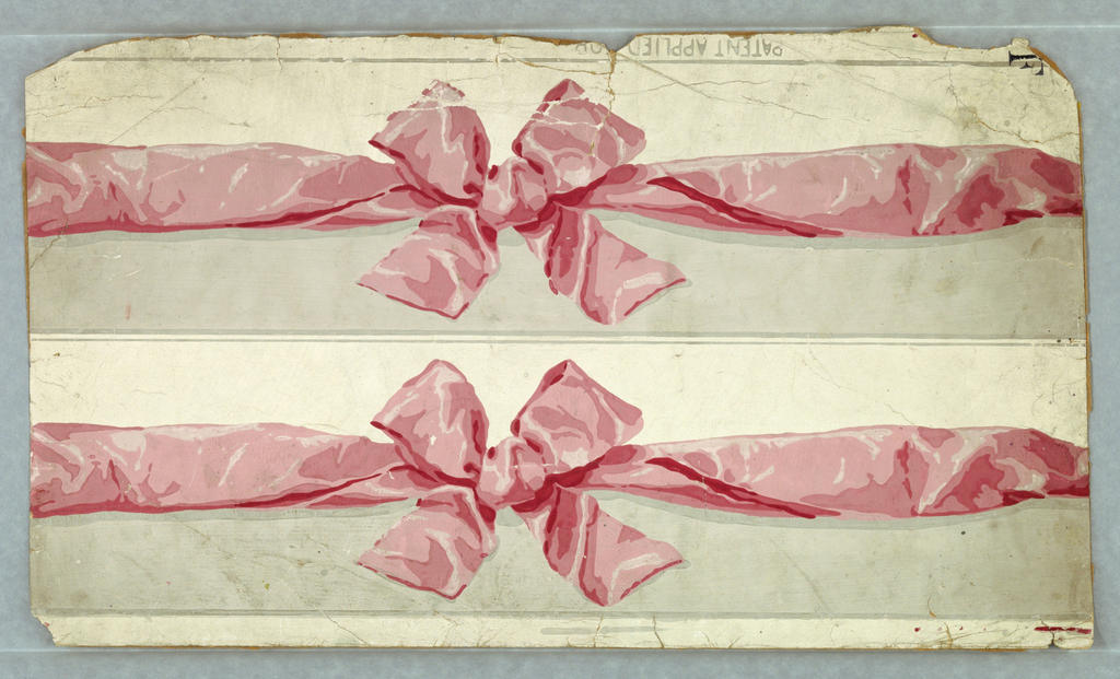 """a) Gray and white ground areas divided by crumpled pink ribbon with bow. Two strips printed side by side on one length; b) same; c) same, except blue ribbon. a,b,c) Gray edge lines.  a,b,c) Embossed: """"Ericson & Weiss designers/ Paris/New York"""" a&c) Printed in margin: PATENT APPLIED FOR"""" b&c) stamped recto """"F"""""""