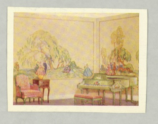Full color watercolor reproduction showing scenic wallpaper in situ in parlor or living room setting. No printed notations on recto.