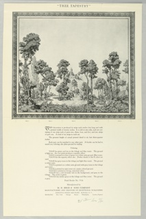Black and white miniature reproduction showing full set of panels, enframed in architectural border. Printed notations give title and panel descriptions.