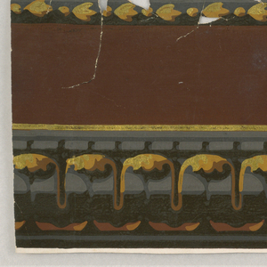 Continuous leaf molding surmounted by dentils in grays, blacks, browns and yellow.
