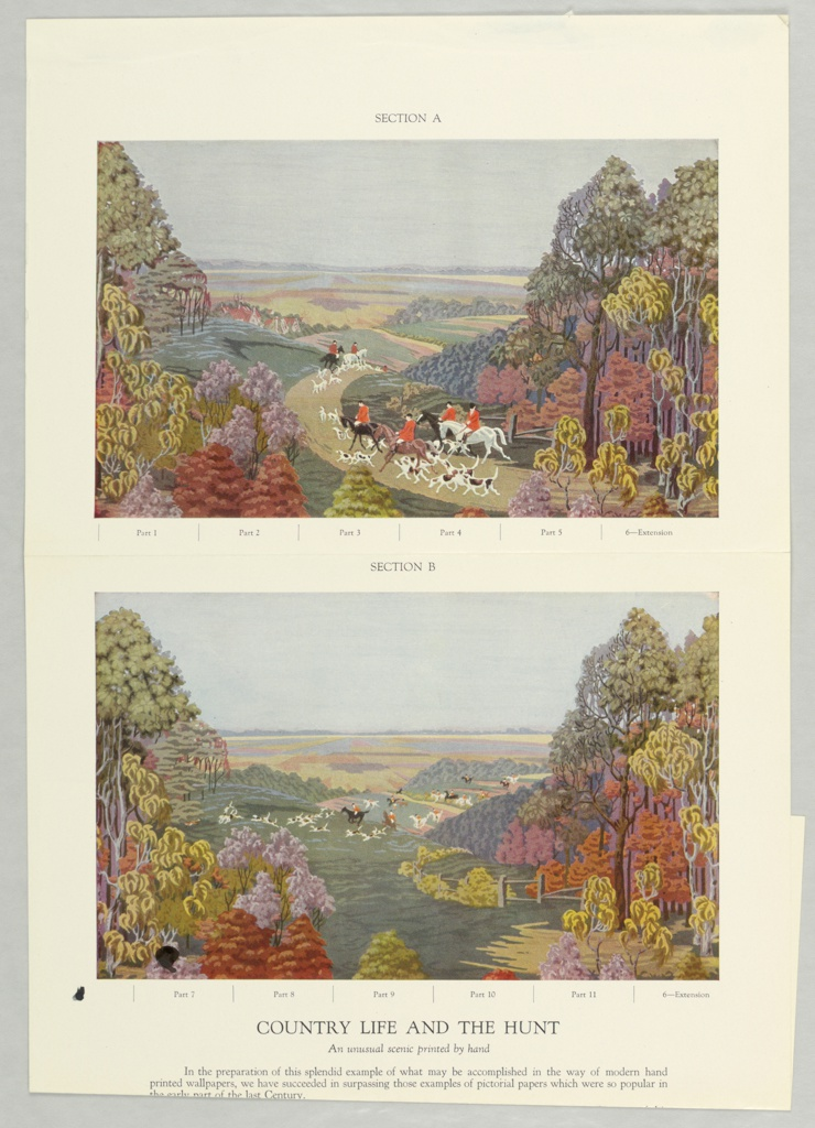 Full color miniature reproduction of panoramic wallpaper containing twenty-eight panels. Printed notations give panel breakdown and description of scenes.