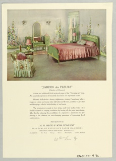 Full color photo reproduction showing mural in situ in a bedroom setting. Printed notations give title and panel description as well as overall description of mural.