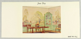 Full color watercolor reproduction showing scenic wallpaper in situ in a dining room setting. Printed notation gives title.