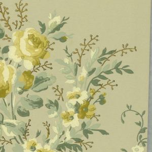 Floral bouquet and swags printed on the bottom half. Across the top edge are bead swags and pendents. Printed in shades of yellow, green and blue.