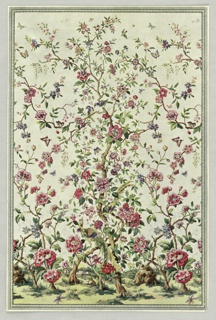 Full color miniature reproduction of floral scenic wallpaper in style of Chinese hand painted scenics. Flowering tree design shown enframed in architectural border.