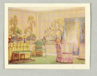 Full color watercolor reproduction showing scenic wallpaper in situ in bedroom or boudoir setting. No printed notations on recto.