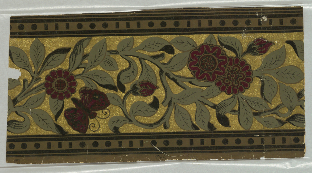 Gilt ground, vines and border in olive green and black; flowers and butterfly dark red. Printed on embossed paper.