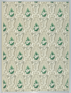 a) Rococo latticework in grays, strongly three-dimensional, with flowers and bright green leaves in reserves (original color); b) beige, pink and cocoa colors, with rust-red leaves.