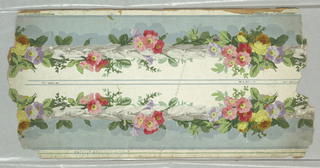Two border strips printed side by side on same length. Ground strips of pastel blue and of white divided by cable of small gray leaves/flowers with entwined pink, lavender flowers, yellow roses, foliage.