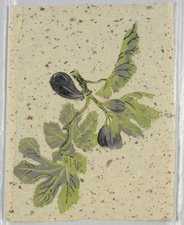 "Figs and leaves. Printed in lavender, green and black on tan Japanese paper. Support contains chips. This is a strike-off for ""Pomegranates and Pineapples""."