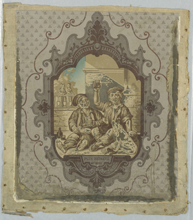 """Three pieces, with scenes, inscribed """"Savoyards."""" a: Recto, small central cartouche, containing two figures in a street scene.  Printed in grisaille and dark blue, on a gray, patterned ground.  Mounted on burlap.  Verso, figural landscape with fox and duck hunting scenes, printed in monochrome brown with attached border; b: Recto, large central cartouche, containing musical scene with two women and two children.  """"Savoyards"""" inscribed below scene.  Printed in grisaille and dark blue, on a gray, patterned ground.  Mounted on burlap.  Verso, figural landscape with fox and duck hunting scenes, printed in monochrome brown with attached border; c: Recto, large central cartouche, containing peasants toasting with dog.  """"Plus heureux qu'un roi (More happy than a king)"""" inscribed below scene.  Printed in gresaille and dark blue, on a gray, patterned ground.  Mounted on burlap.  Verso, figural landscape with fox and duck hunting scenes, printed in monochrome brown with attached border."""