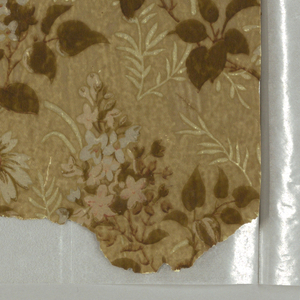 Variety of pieces in the Aesthetic or Anglo-Japanesque style. Fragments include a sidewall, frieze and ceiling paper.