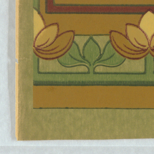 """a) Green paper with stylized widely spaced floral stripe; b) Matching frieze - """"crown"""""""