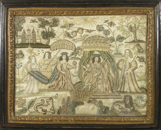 Stumpwork picture showing a King and Queen (perhaps Charles I and Henrietta Maria) with attendants. Background has a castle, fish pond, leopard, lion, small animals and insects, birds and flowering sprays.