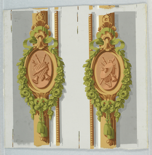 Two separate foliate medallions, each with tassel in green, containing motif of musical instruments in terra cotta, with beading along one side; on off-white ground.