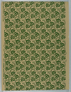 Uninterrupted vines of three-leaf ivy forming all-over design. Straight match. Dark green on beige (original coloring); b) Gray on putty ground.