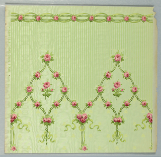 """a) On textured, moire paper, shiny pastel green ground powdered with chartreuse shamrocks. Dominant pattern: three vertical bands of tiny pink roses and green ribbons; b) Crown frieze: continuation of """"a"""". Pointed arches formed from the rose bands; green striped fill above. At top edge, horizontal band formed of pink rose buds."""