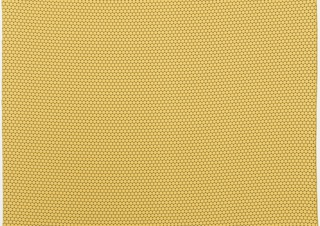 Woven upholstery with a pattern of close-set, raised yellow dots on a black ground.