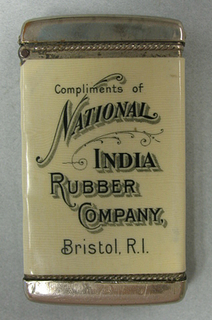 Compliments of National India Rubber Company, Bristol, RI; Patented June 6, 1905