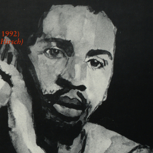 """Poster for """"Day Without Art"""" to honor artists who died of AIDS. Reproduction of ink and paper drawing of Darrel Ellis' """"Self Portrait"""" at top half.  Image of African-American young man with hands clasped in front.  Across top, """"We're all one human being,/really./ - Darrell Ellis (died of AIDS in 1992)/ (Source: Interview with David Hirsh)"""" (in red).  Written biography of Ellis and information about this day such as date, purpose, and sponsors below in red."""