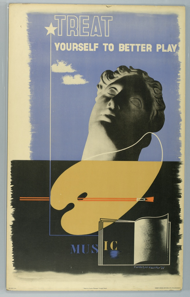 Poster advertising the large availability of night classes that can be reached via public transportation in London. Poster in half blue (at top) and half black (at bottom); the blue section has a head of a classical Greek/Roman sculpture against a sky with text in white: [white star] TREAT / YOURSELF TO BETTER PLAY. Below, a tan painter's palette with a brush dipped in orange paint and an outline of an open book with text in blue and white: MUSIC.