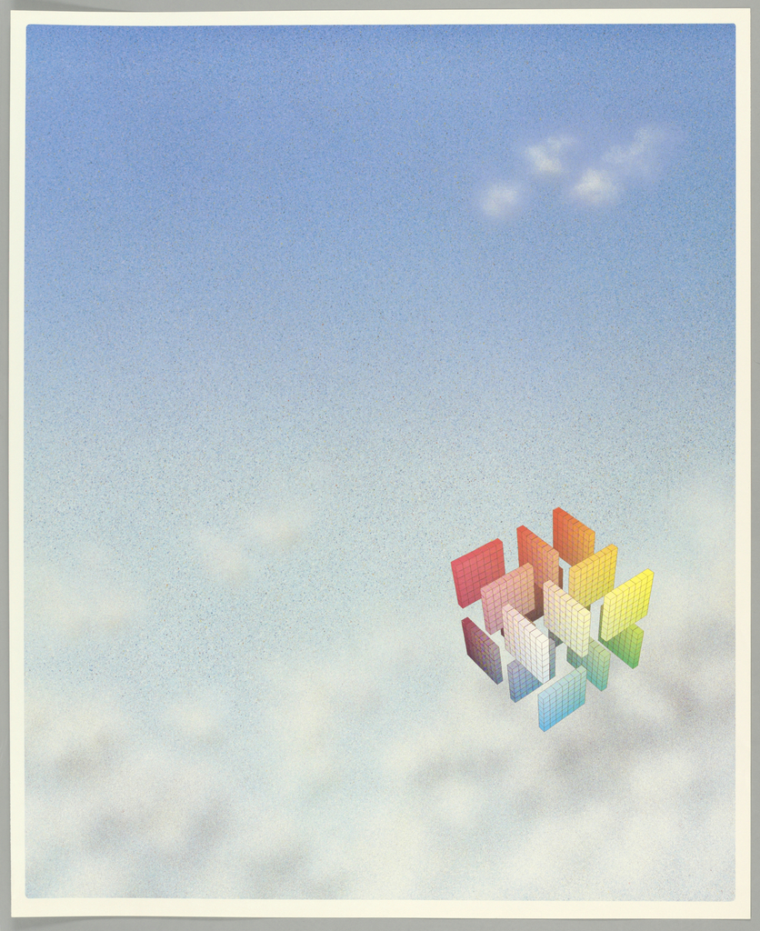 On a background of blue sky with wispy clouds, a floating three-dimensional cube form at lower right made up of sixteen square gridded panels, each panel in various chromatic colors, together representing a gradient of all possible colors.