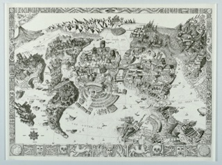 Poster, Map of Atlantis, the New World, etc.