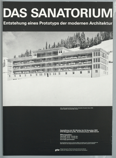 "Exhibition poster for work of Nicholas Grimshaw & Partners from 1988-1993 at Royal Institute of British Architects. Color photo reproduction of interior of aluminum structure with curved walls supported by steel grid design.  Imprinted in white, lower right: ""The Work of Nicholas Grimshaw & Partners, 1988-1993/ Strcuture, Space and Skin/ an exhibition of Models, Mock-ups,/ Prototypes and Drawings./  At the Royal Institute of British Architects, 66 Portland Place, London W1/ Monday 10 May 1993 - Saturday 29 May 1993./  10.00am - 5.30 pm Weekdays./ 10.00 am - 4.00 pm Weekends."""