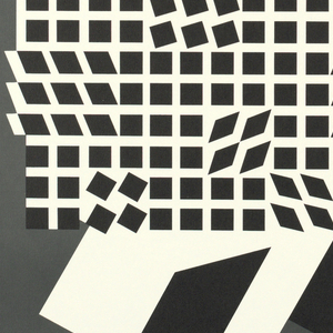 Abstract design in black, gray and white on white paper. At bottom: VICTOR VASARELY / OCT. 18-NOV. 11 / London Arts Gallery / 321 FISHER BLDG. / DETROIT 48202 / THE EXHIBITION IS AVAILABLE FOR / CIRCULATION TO COLLEGES AND MUSEUMS.