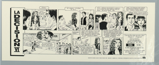 Comic book-style poster in black ink, dealing with AIDS.